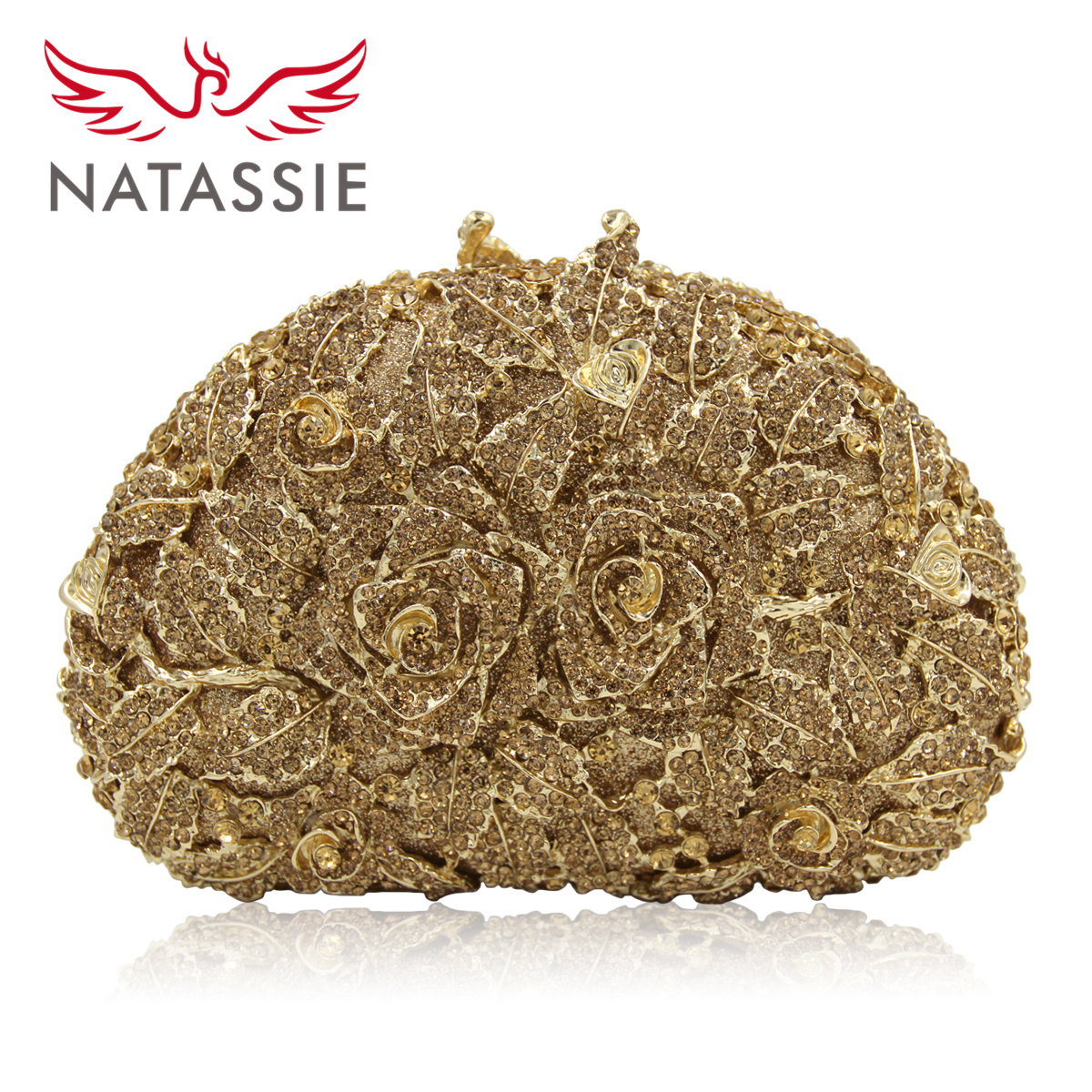 Natassie Women Party Clutches New Arrivel Top Quality Two Rose Flowers Crystal Evening Bags Wholesale Evening Purse