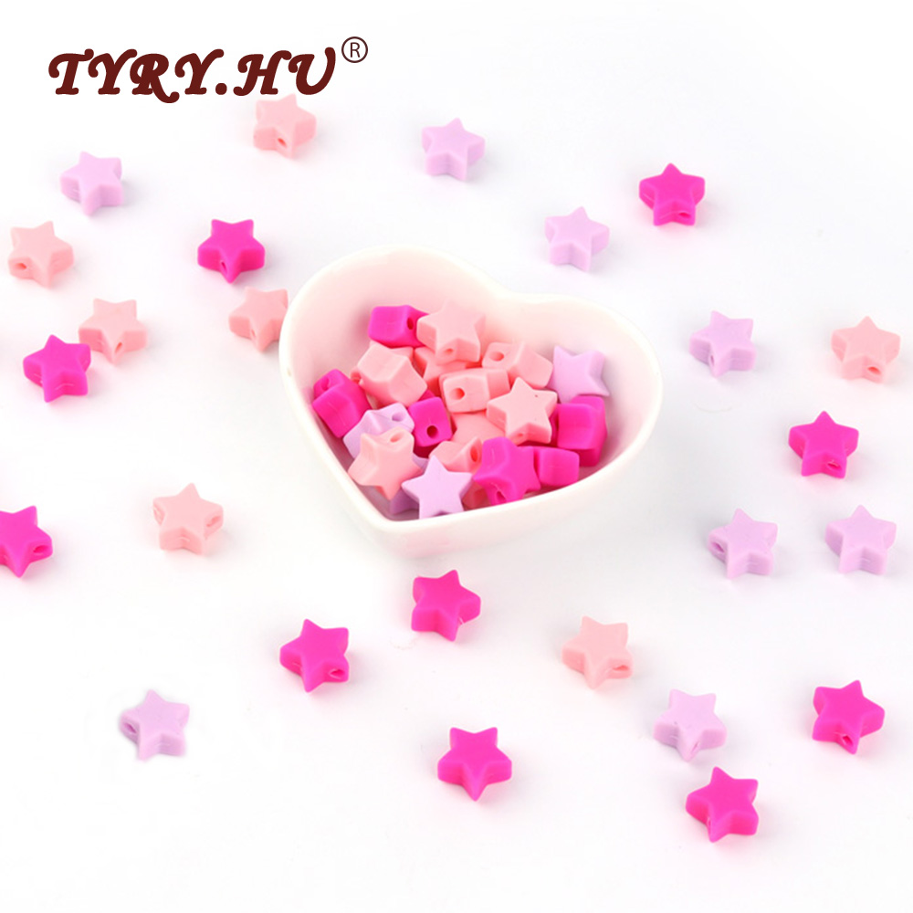 TYRY.HU BPA Free Silicone Beads 30Pcs Star Shaped Baby Teething Beads Baby Teethers Chewable Beads For Nursing Necklace Making