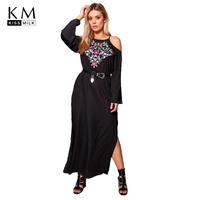 Kiss Milk Plus Size Solid Black Sexy Off Shoulder Floral Embroderid Women Dress Long Sleeve Female