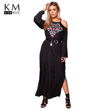 цена на Kissmilk Plus Size Solid Black Sexy Off Shoulder Floral Embroderid Women Long Sleeve Waist Tie Split Side Ankle-Length Dress