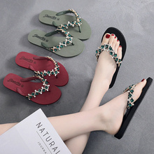 2019 Women Slippers Crystal Flip Flops Flat Shoes Spring/Summer Black/Green/Red Female Shoes Casual Lady Shoes Woman Footwear hot sale 2016 summer woman shoes rhinestone flat woman shoes fashion casual shoes wild concise female flip flops dt194