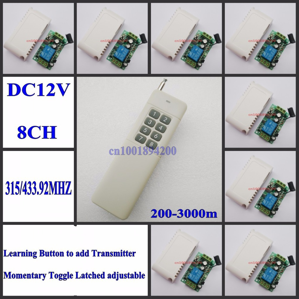Radio Remote Control System DC12V Receiver 3000m Long Range Distance Transmitter 8CH Separate Remote Controller 315