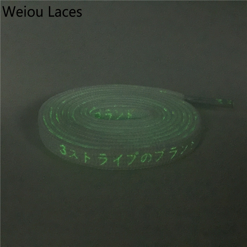 Weiou Replacement Flat Printed Fluorescent Green Japanese Katakana Letter Shoe Laces Kids Fun Bootlaces Quality Night Shoelace купить