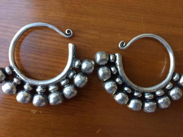 Pretty rare Tibetan women jewelry Miao Silver Earring a pair A03