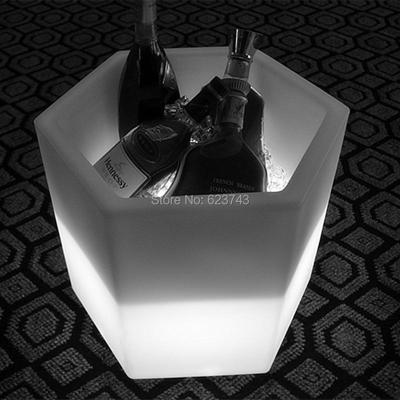 À prova d' água Mudando de Cor PE Quadrado Champanhe Vinho Baldes De Gelo LED Recarregável luminous interior LED Flower Pot Y-POT