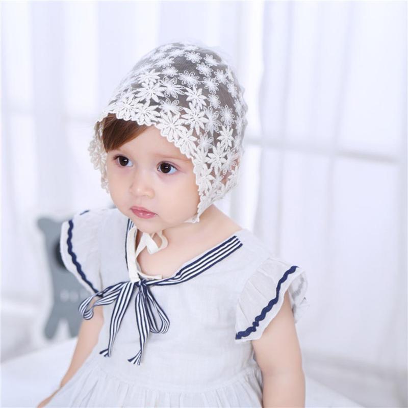 Кружево Вышивка цветок принцесса Hat Девушка Лето Универсальный Кепки Защита от Солнца шляпа аксессуары для малышей капот фотографии плюсы