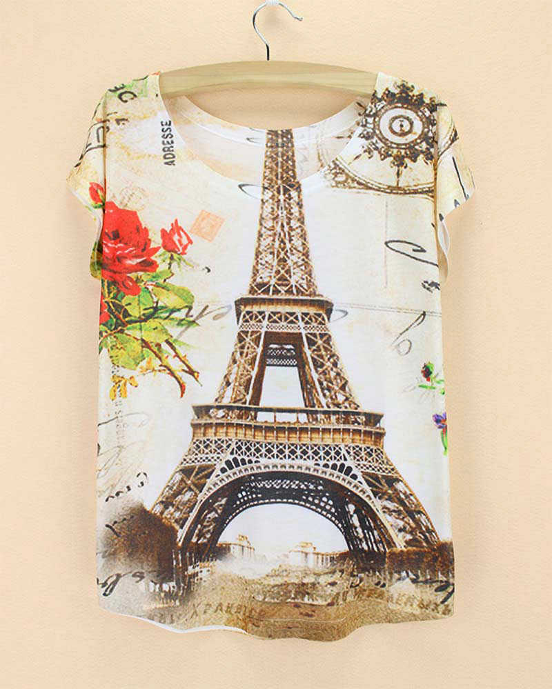 Fashion Print Eiffel Tower T Shirt Women Tops Tees Paris Famous Symble Summer Clothes Fashion Designer Plus Size Clothing Sale Top Tees Fashion Teest Shirt Women Aliexpress