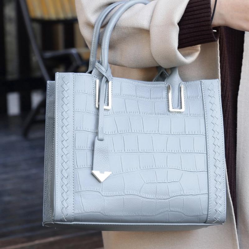 High Quality Cowhide Women Handbags Female Shoulder Bag Women Messenger Bag Luxury Designer NEW Crocodile Pattern