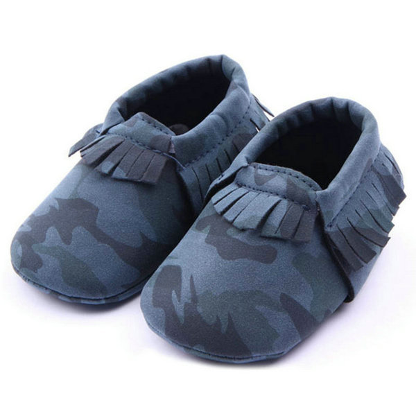 Baby Boy Girls Moccasins Shoes Army Camouflage PU Leather Shoes Newborn Baby Kids Soft Soled Infant Tassels Shoes