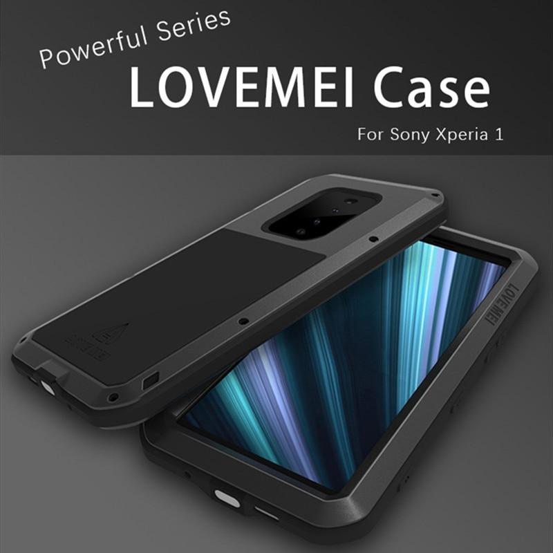 LOVEMEI housse étanche en métal puissant pour Sony Xperia 1 coque antichoc en aluminium coque arrière corps complet défenseur coque de téléphone