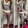 2016 Assimétrico Camisola e Calças Set 2 Conjunto de Duas Peças Agasalho PARIS Impressão Suor Ternos Mulheres Hoodies Conjuntos