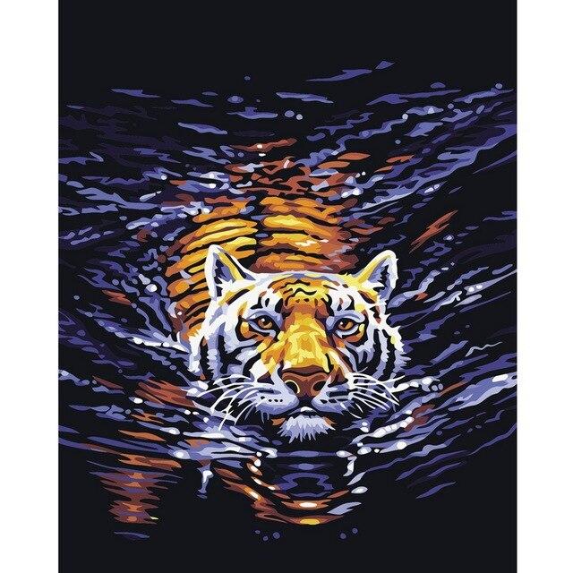 Online shop hot diy Ölgemälde durch zahlen tiere tiger rahmenlose ...