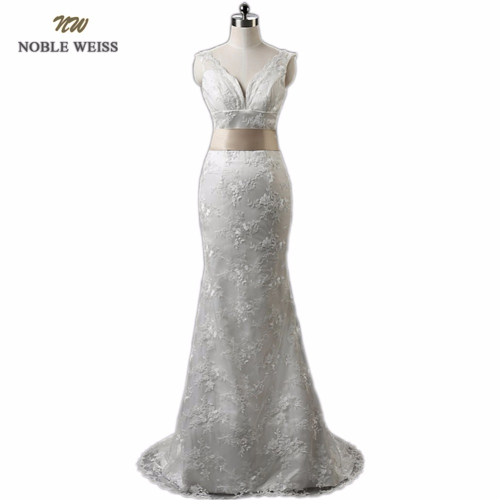 NOBLE WEISS In Stock Real Picture V-Neck Lace Up Back Cheap Lace Mermaid Wedding Dresses With Belt