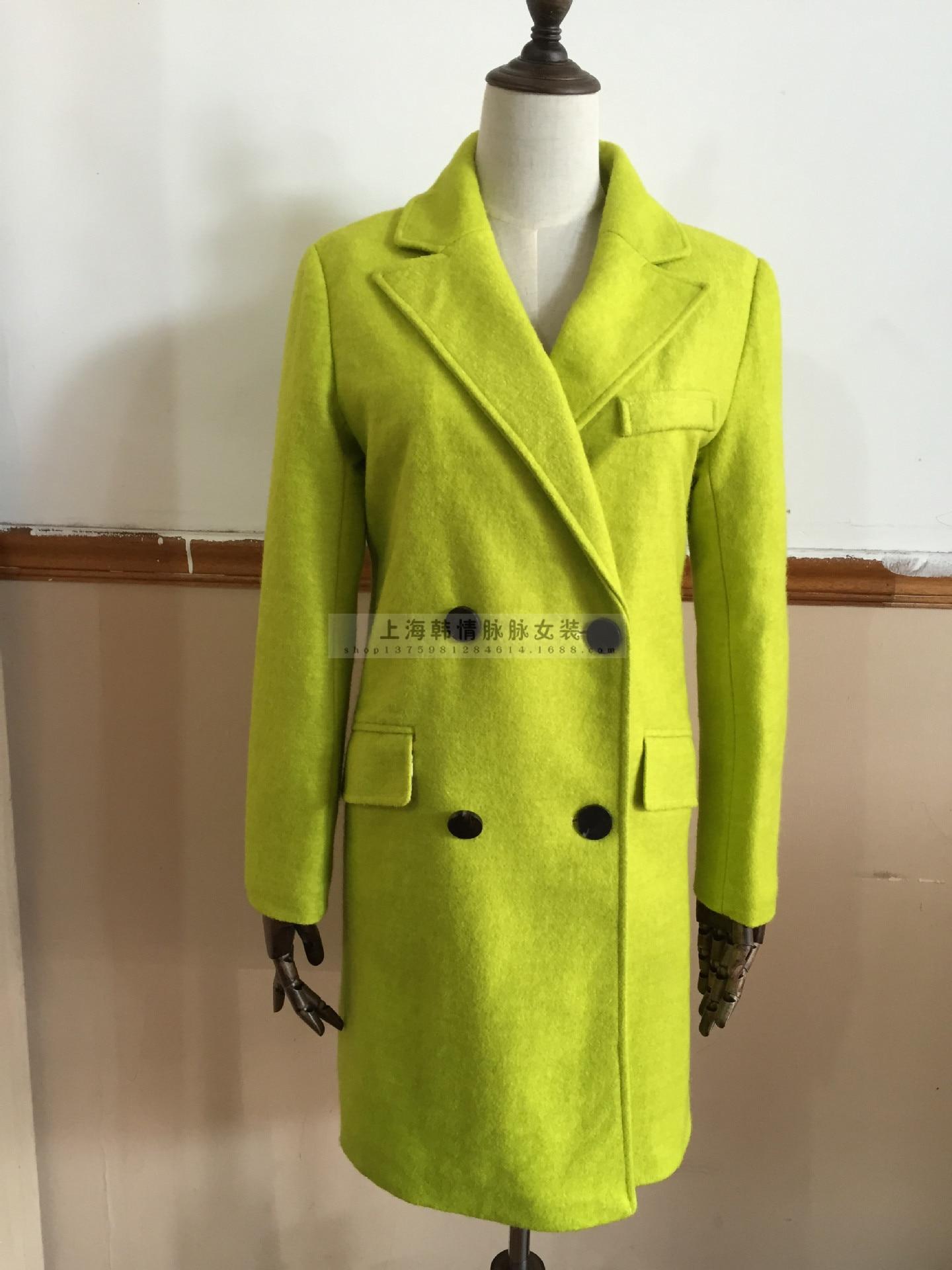 Double Femelle 2018 Femmes Noir Mode Automne Manteaux En Manteau Laine jaune Longue Boutonnage Hiver Mélange Cachemire Épaississent RYqSYwPr
