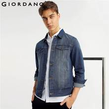 Giordano Men Jacket Silm Denim Pocket Jacket Hombre Casual Overalls Turn collar Button Overcoat Male Denim Jacket(China)