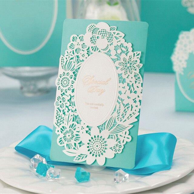 1pcs Sample Blue Laser Cut Hollow Wedding Invitation Card With ...