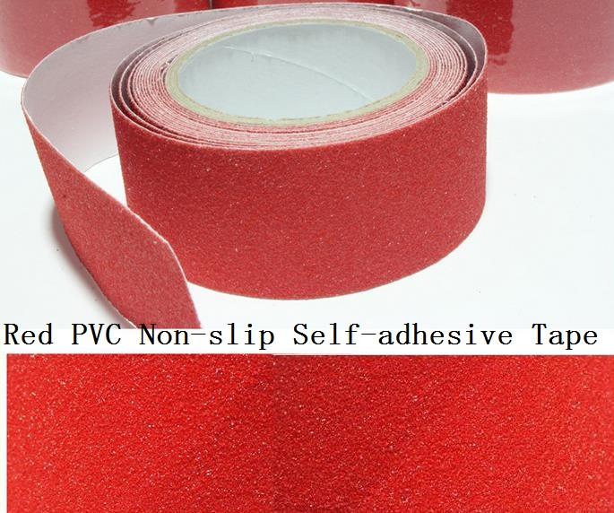 5cm*5M Red Swimming Pool Stairs Floor Bathroom Frosted Surface Non-slip PVC Warning Safety Self-adhesive Rough Tape