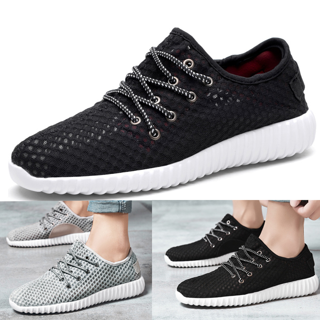 2019 Spring summer Men's mesh Fly Knit Casual Sneakers running Man New Fashion Breathable Comfortable lace up Shoes