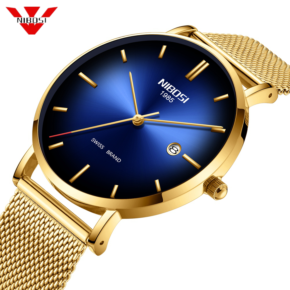 Nibosi Men Watches Ultra Thin Date Simple Stainless Steel Gold Blue Quartz Sport Watch Men Chronograph Men's Wrist Watch Clock