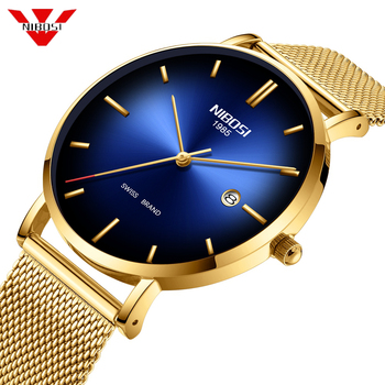 Nibosi Men Watches Ultra Thin Date Simple Stainless Steel Gold Blue Quartz Sport Watch Men Chronograph Men's Wrist Watch Clock new and innovative blue gold magnetic metal parallel time and space watch men s fashionable quartz watch simple men s watch