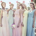 Fashion Halter Criss-Cross Pastels Sexy Chiffon Bridesmaid Dresses Floor Length Custom Made Bridesmaid Dress vestido de festa