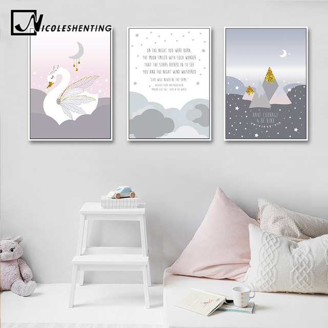 Baby Girl Nursery Wall Art Canvas Poster Cartoon Print Painting ...