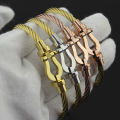 France Fred  Brand Jewelry Gold Plated Stainless Steel Wire  Force Buckle  Wristband Bracelet Bangle For Men Women