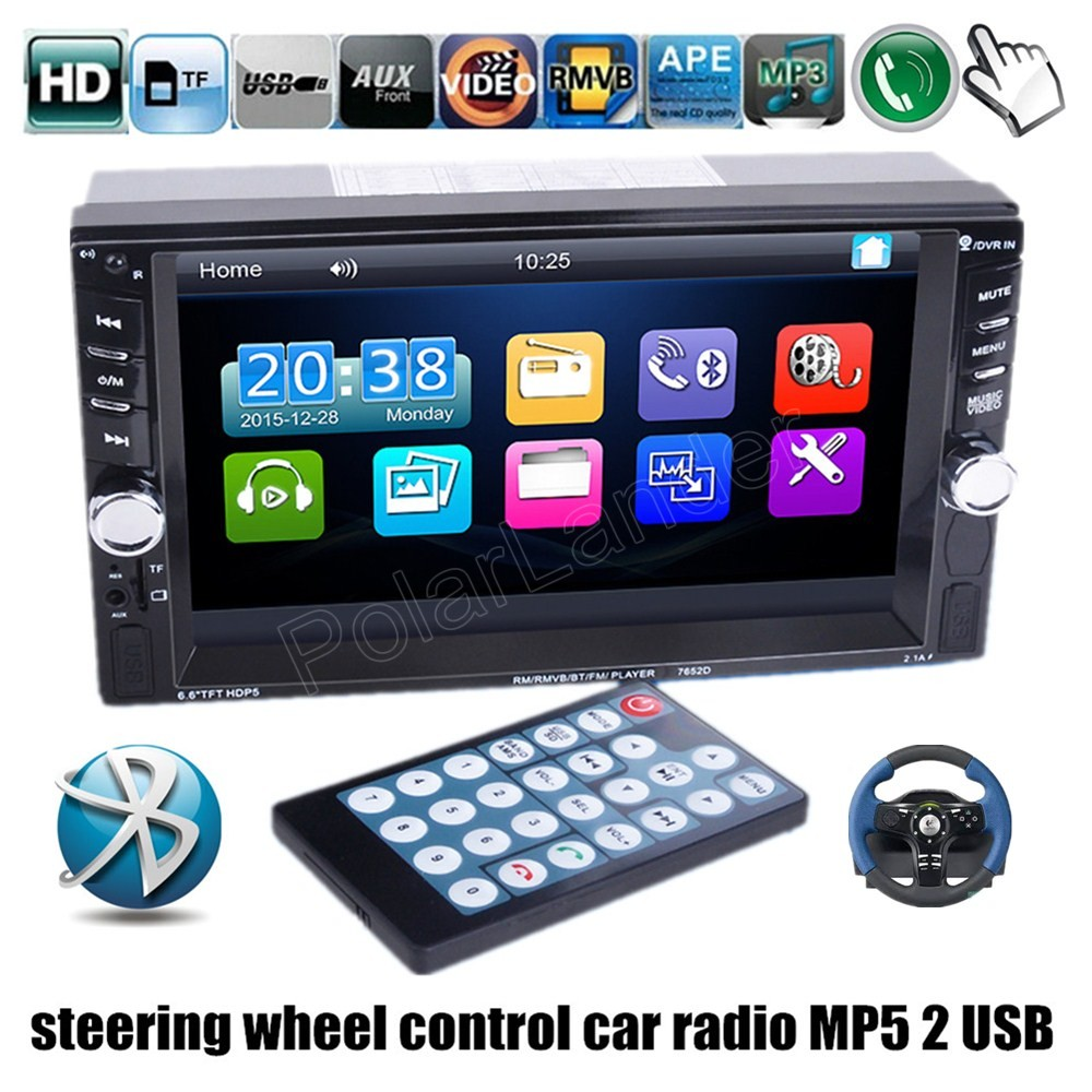 DVR/rear camera input 6.6 Inch 2 din Car Stereo FM Radio MP4 MP5 video Player Bluetooth USB/TF steering wheel control 2 USB