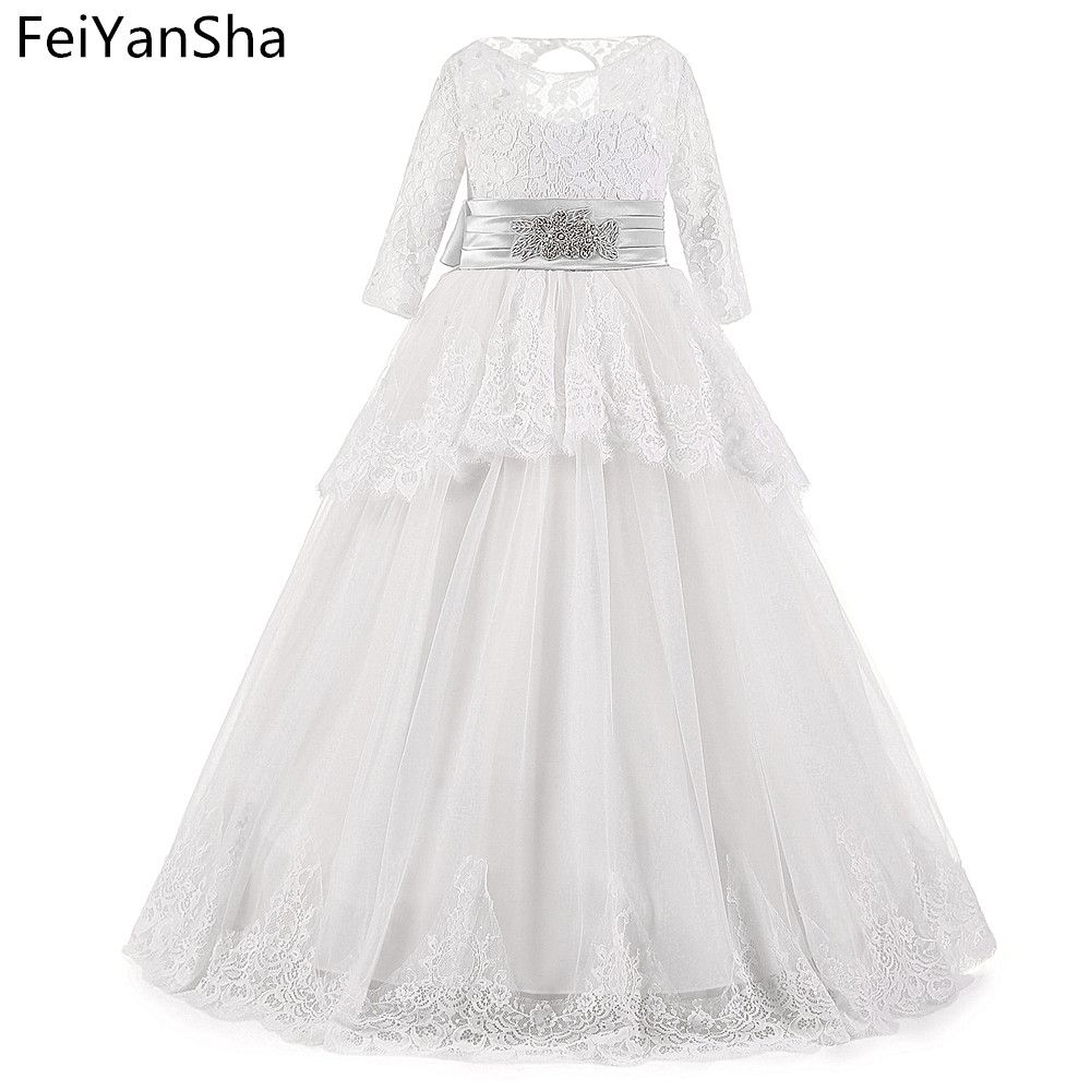 FeiYanSha Iong Sleeve Pink Flower Girl Dresses 2018 Puffy Ball Gowns For Girls Dresses lace First Communion Dresses For Girls new white ivory flower girl dresses for wedding 3d flowers puffy tulle with big bow girls first communion gowns