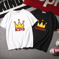King Queen T Shirt 2018 Spring New Men And Women Couple T Shirt 100 Cotton Round