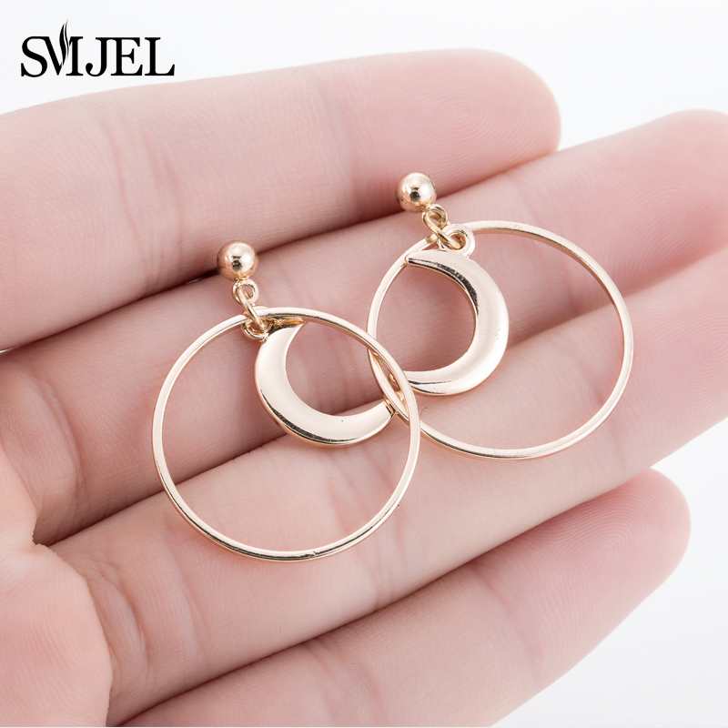 SMJEL  Big Circle Combined Crescent Moon Earrings for Women Punk Round Exaggerated Statement Earings Birthday Gift New Year S219 золотые серьги по уху