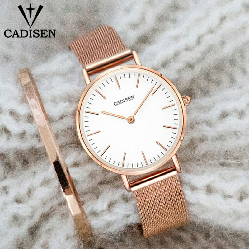 CADISEN Fashion Luxury Women Quartz Watch 32mm Ultrathin Ladies Waterproof Lady Dress Watch Stainless Steel Send Bracelet