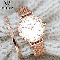 CADISEN Fashion Luxury Women Quartz Watch 32mm Ultrathin Ladies Waterproof Lady Dress Watch Stainless Steel Send