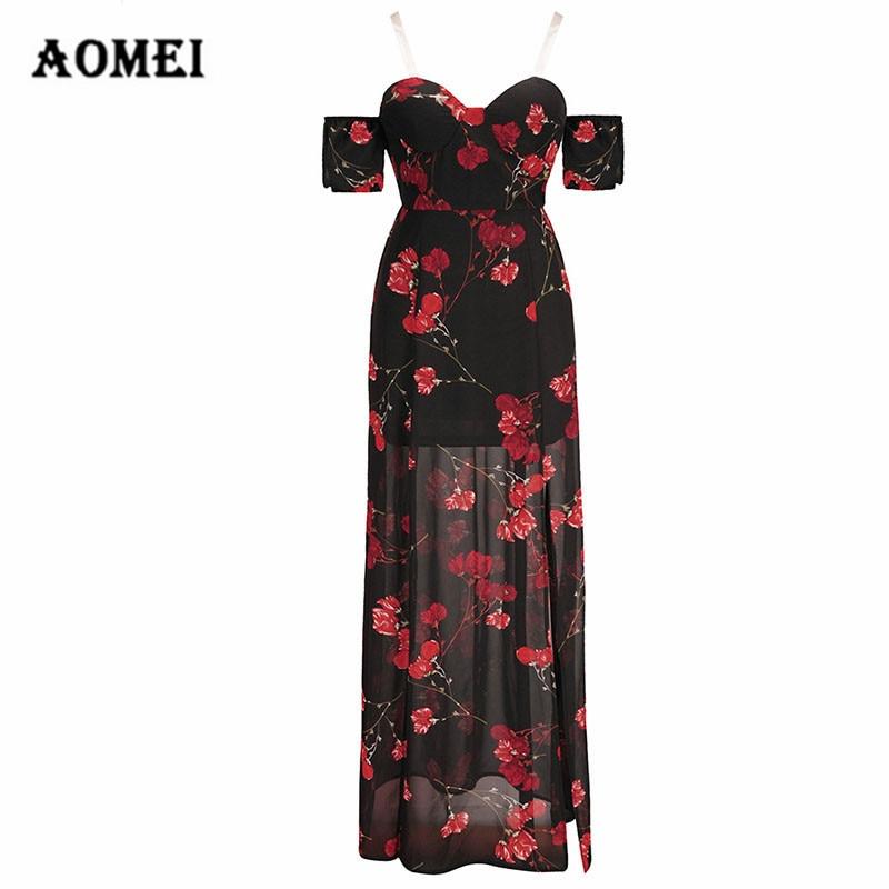 Ladies Floral Maxi Slit Vocacion Dress Print Cold Shoulder Tube Top Dresses  Split Flower Sexy Boho 89f7fbbca95b
