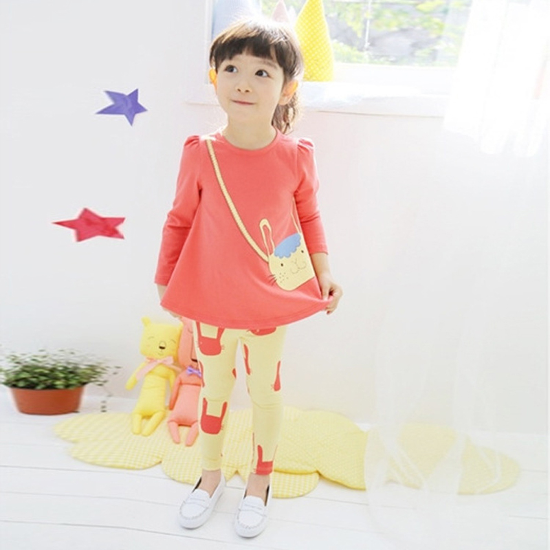 Spring Autumn Girls Clothes 2017 New Long Sleeve Children Clothing Set Cartoon Casual Kids Suits for 3 4 5 6 7 8 Years Girls he hello enjoy girls clothes dress spring autumn kids dresses for girls long sleeve denim shirt bow suits children clothing set