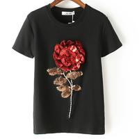 2016 New Summer Women Sequin T Shirt Fashion Cotton Female Rose Flower Tops T Shirt