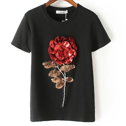 Las nuevas mujeres del Verano de lentejuelas camiseta de algodón de moda femenin