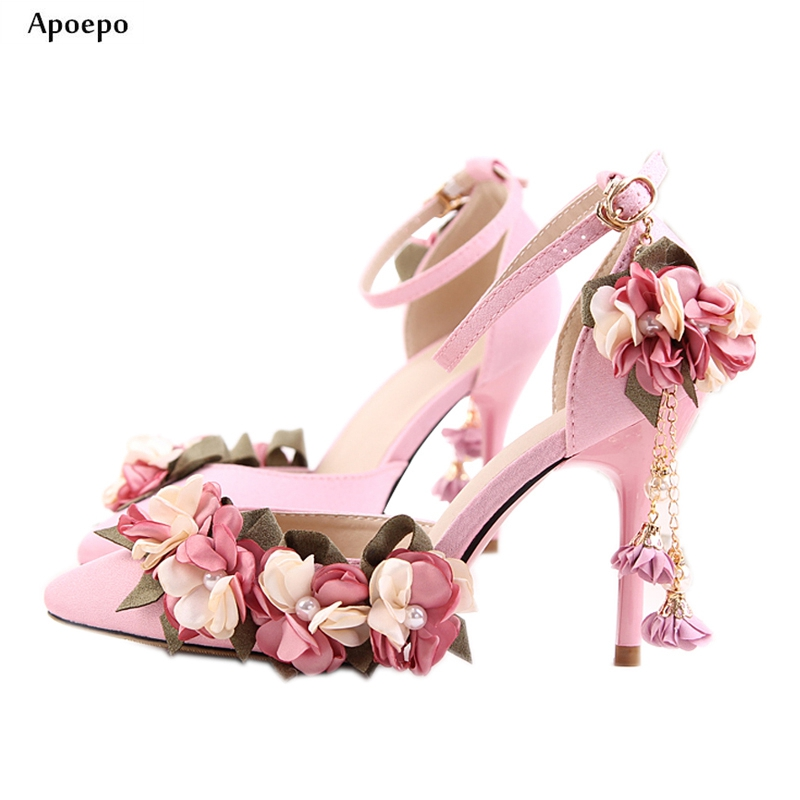 Apoepo Pink Silk High Heel Shoes 2018 Sexy Pointed Toe Ankle Strap Pumps Thin Heels Flower Decorations Wedding Heels Woman Shoes