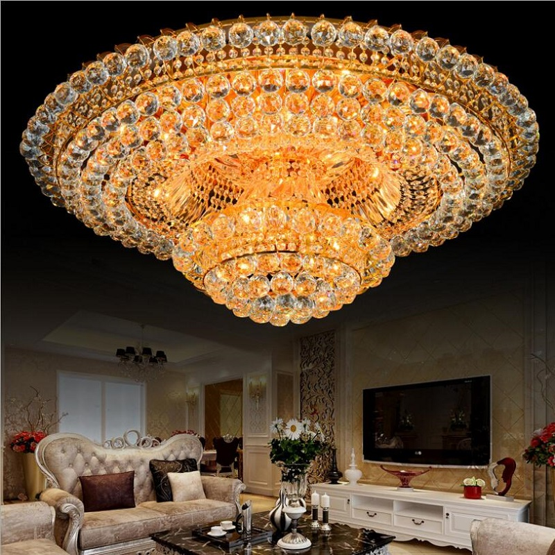 Luxury Crystal Chandelier Lighting For Living Room Ceiling Modern Led Gold Crystal Chandelier Remote Control RGB Lustre Cristal new design rgb led crystal light modern dinning room crystal chandelier with remote control