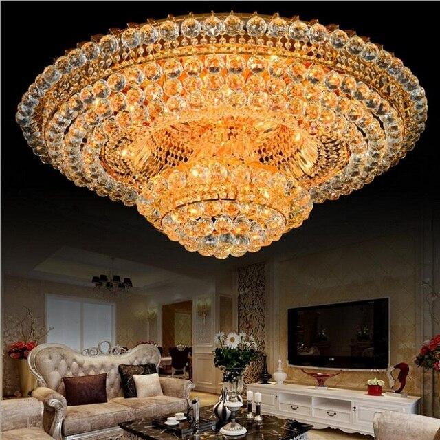 Luxus Kristall Kronleuchter Beleuchtung Für Wohnzimmer Decken Moderne Gold  Kristall Kronleuchter Fernbedienung RGB Lustre Cristal