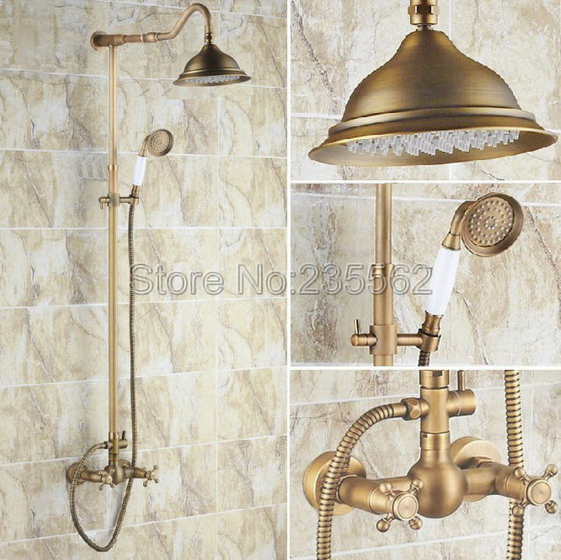 Bathroom Antique Brass Rain Shower Faucet Set with 8.2 inch Shower Head + Ceramic Handheld Shower Wall Mounted Mixer Taps lrs136