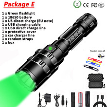 10000Lums LED L2 Green Tactical Flashlight Super Bright USB Rechargeable Torch clip Hunting light Waterproof for 18650 battery