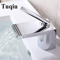 New Arrivals white and gold Bathroom Faucet hot and cold Crane Brass Basin Faucet Waterfall Sink Faucet Single Handle water tap