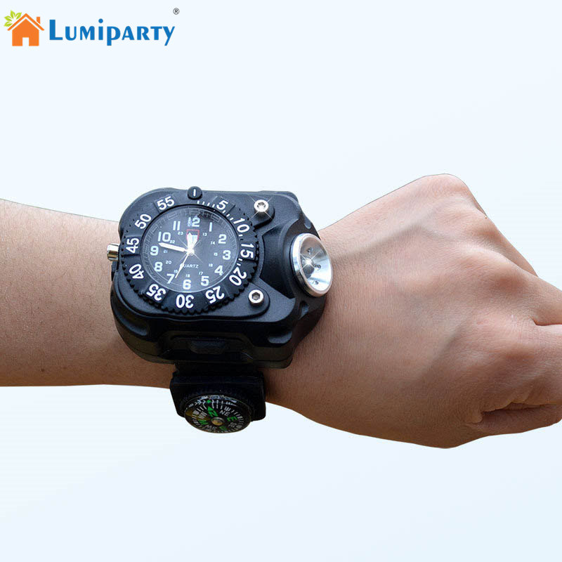 LumiParty 3 in 1 Super Bright LED Flashlight Torch lights Watch Compass Rechargeable for Mens Outdoor Sports super bright led watch flashlight torch lights compass outdoor sports mens fashion waterproof rechargeable wrist watch lamp