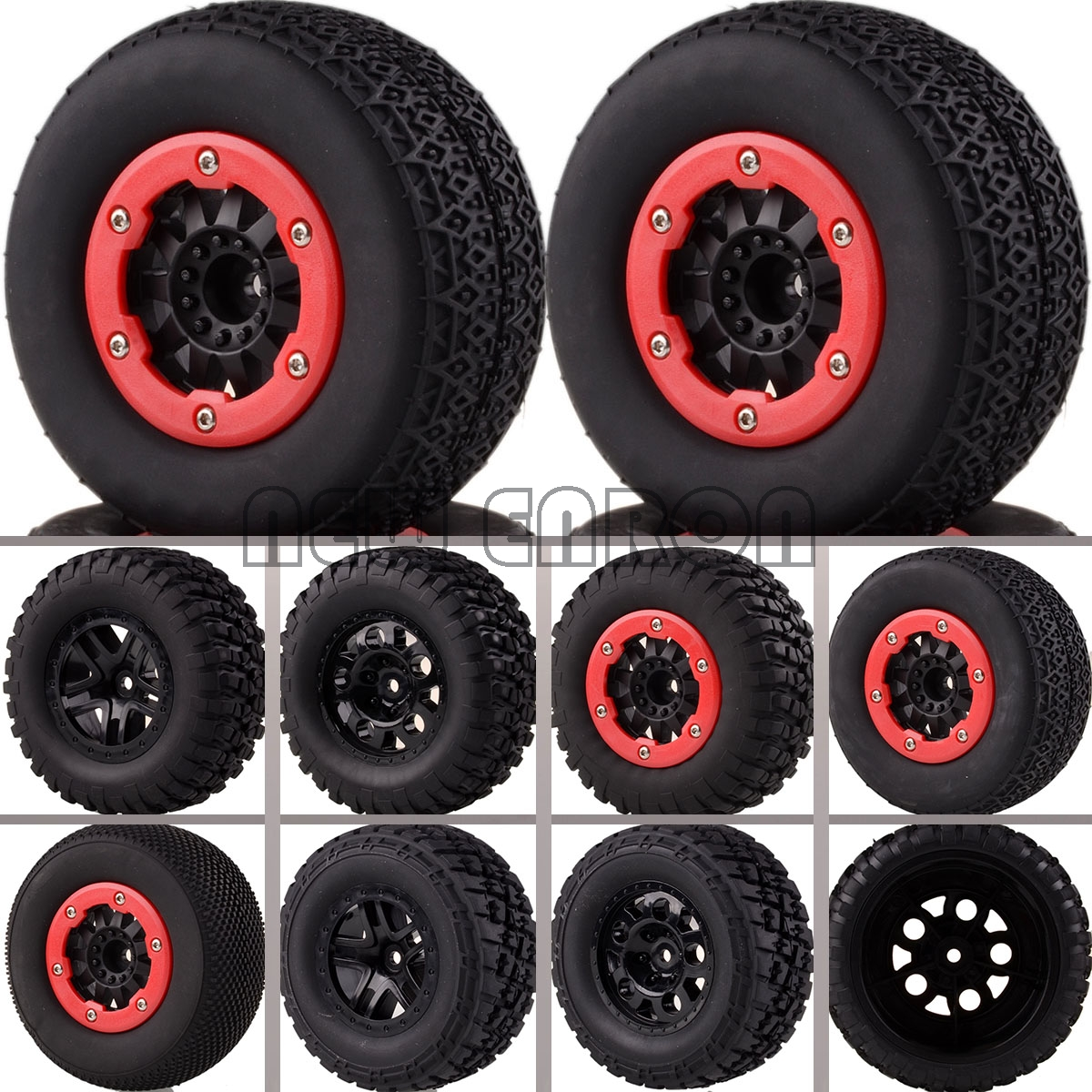 NEW ENRON 4PCS Bead-Lock Short Course Tire & Wheel 12MM HEX 1182-(12-17) FOR 1/10 Traxxas Slash 4x4 HPI 4pcs set rc parts 12mm hex bead loc short course ruber tire rims for hpi hsp rc 1 10 traxxas slash