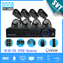 NVR Promotion 8ch security DVR Recorder System indoor Outdoor Weatherproof video Surveillance camera system CCTV Kit SNV-12