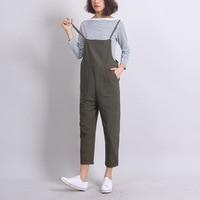 Tobillo-Longitud de Las Mujeres Suelta Pantalones de La Liga de Color Sólido Casuales Overoles de Cintura Alta Trajes de Verano de Otoño Pantalones Largos Femeninos