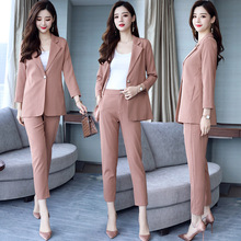 Blazer and pants set for women suits office sets Casual striped blazer Nine suit 2019 autumn new womens clothing