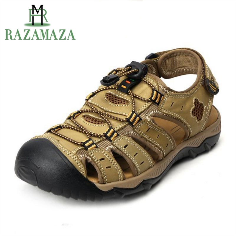RAZAMAZA Size 38-48 Men Sandals Genuine Leather Summer Hollow Breathable Casual Shoes Classics Gladiator Shoes Male Footwear