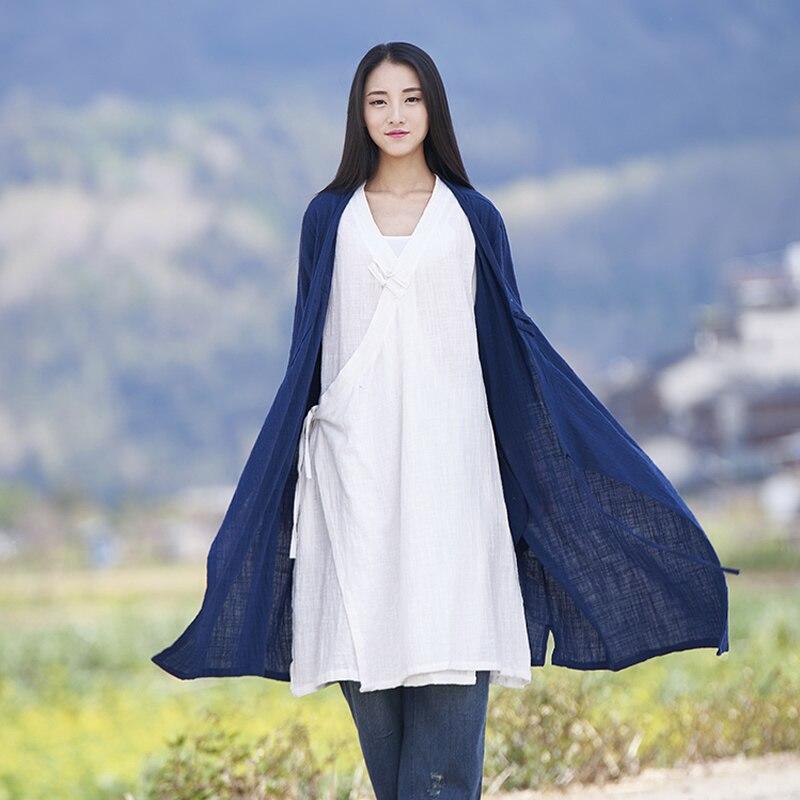 Solid V-neck Long sleeve Kimono Women Long   Blouse     Shirt   Vintage Chinese style Summer   Shirt   Loose Casual Kimono Tops Blusas B172